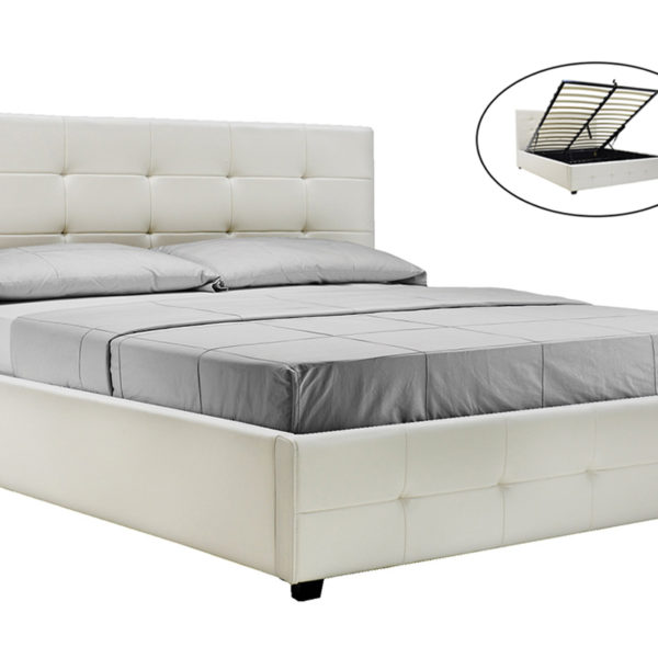 Κρεβάτι Roi pakoworld διπλό 160x200 PU λευκό ματ + αποθηκευτικό χώρο
