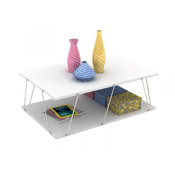 Τραπέζι σαλονιού TARS pakoworld χρώμα λευκό λεπτομέρειες χρωμίου 90x60x30