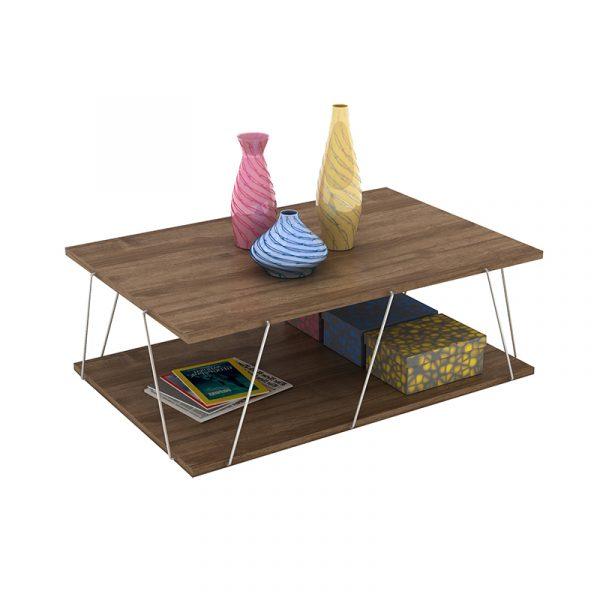 Τραπέζι σαλονιού TARS pakoworld χρώμα καρυδί λεπτομέρειες χρωμίου 90x60x30