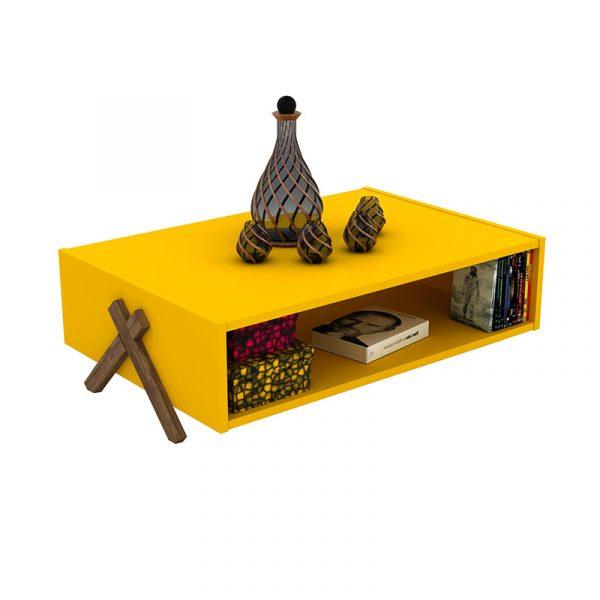 Τραπέζι σαλονιού KIPP pakoworld χρώμα κίτρινο-καρυδί 93