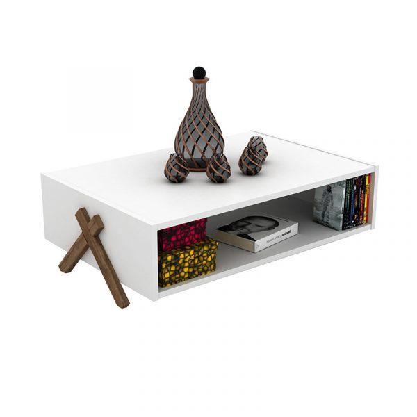 Τραπέζι σαλονιού KIPP pakoworld χρώμα λευκό - καρυδί 93