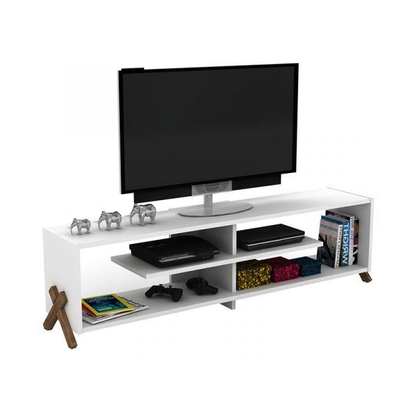 Έπιπλο τηλεόρασης KIPP pakoworld χρώμα λευκό-καρυδί λεπτομέρειες 145x31x39εκ