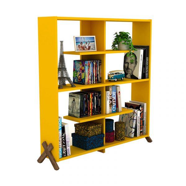 Βιβλιοθήκη KIPP pakoworld χρώμα κίτρινο με καρυδί λεπτομέρειες 113x28x115εκ