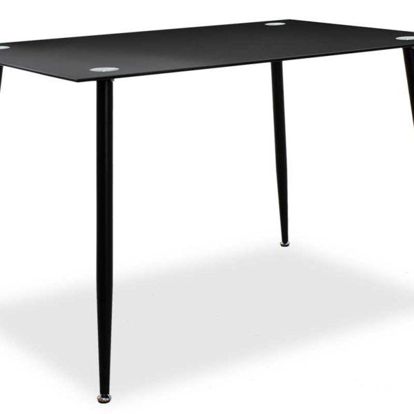 Τραπέζι Vincenzo pakoworld ορθογώνιο με γυάλινη επιφάνεια μαύρο 120x80x75εκ