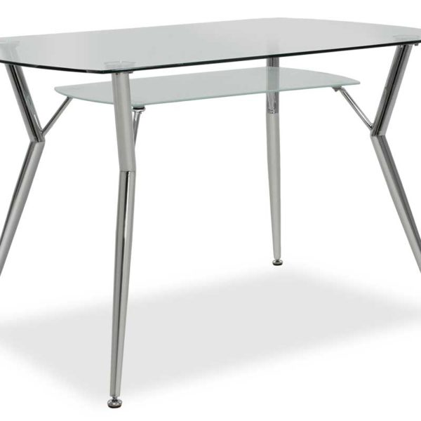 Τραπέζι Jacob pakoworld ορθογώνιο με γυάλινη επιφάνεια 120x75x75εκ