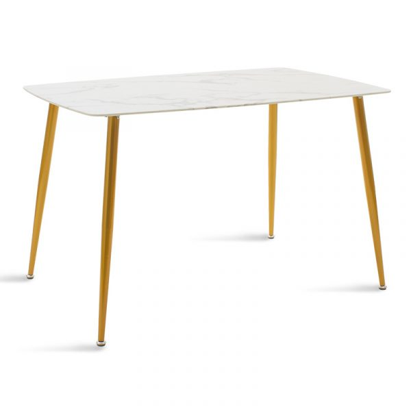 Τραπέζι Paris pakoworld οβάλ γυαλί 8mm σχέδιο μαρμάρου-χρυσό 120x80x75εκ