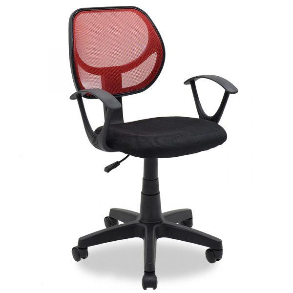 Παιδική καρέκλα Sara pakoworld με ύφασμα mesh χρώμα μαύρο-κόκκινο