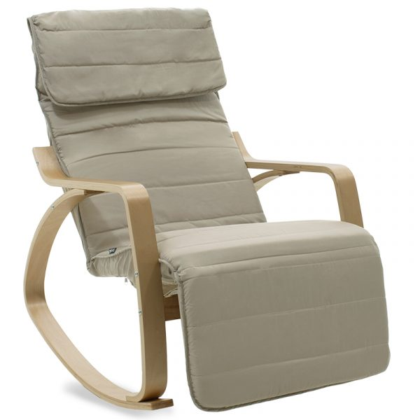 Πολυθρόνα Elma pakoworld κουνιστή με υποπόδιο σε ανοιχτό λαδί ύφασμα και φυσικό ξύλο