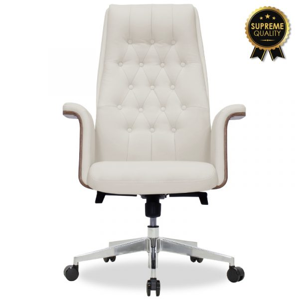 Καρέκλα γραφείου διευθυντή California pakoworld SUPREME QUALITY με white ivory τεχνόδερμα