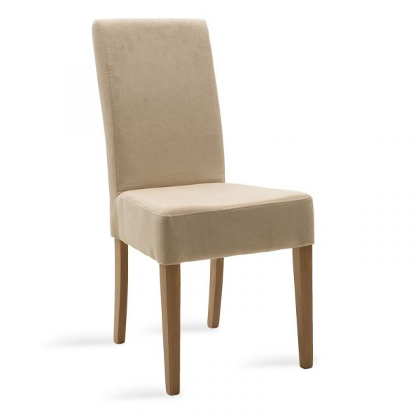 Wooden chair Ditta pakoworld with ecru fabric - wooden legs sonoma