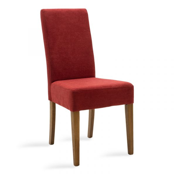 Wooden chair Ditta pakoworld with red fabric - wooden legs walnut