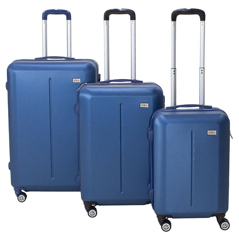 Line pakoworld set of suitcases  3 pcs Hard with wheels ABS dark blue