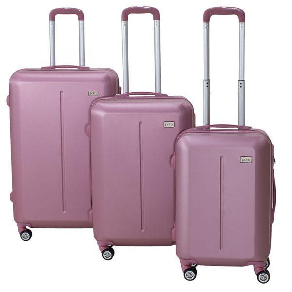 Σετ βαλίτσες Line pakoworld 3ων τμχ τροχήλατες σκληρές από ABS ροζ