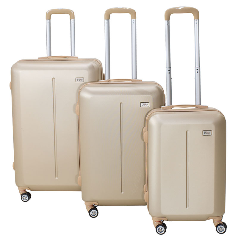 Line pakoworld set of suitcases  3 pcs Hard with wheels ABS  champagne
