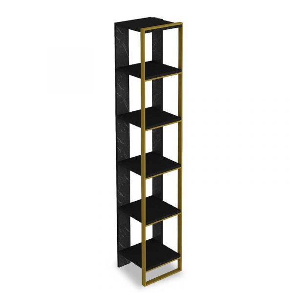 Βιβλιοθήκη PWF-0298 pakoworld χρώμα μαύρο μαρμάρου-χρυσό 32x31