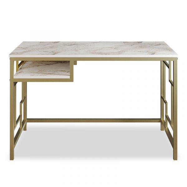 Γραφείο - κονσόλα PWF-0335 pakoworld χρώμα λευκό μαρμάρου-χρυσό 120x60x75εκ
