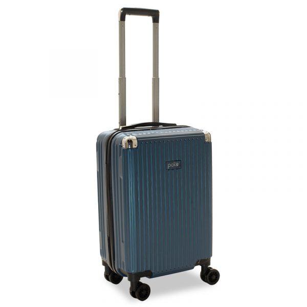 Βαλίτσα καμπίνας Venezia pakoworld με 4 ρόδες σκληρή από ABS+PC μπλε 36