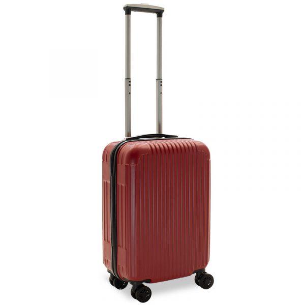 Βαλίτσα καμπίνας Lido pakoworld με 4 ρόδες σκληρή από ABS+PC κόκκινο 35x23x56εκ