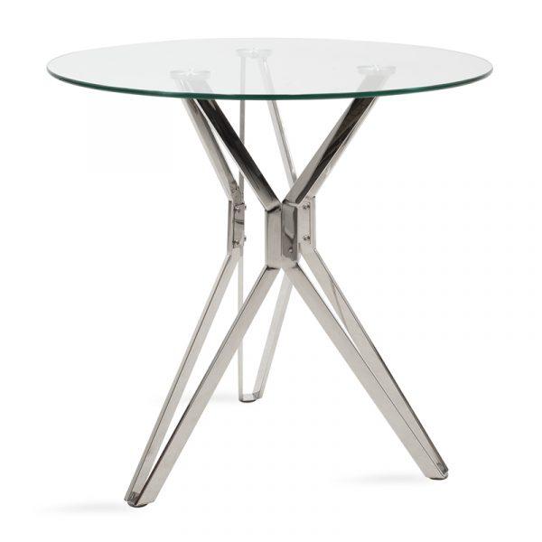 Τραπέζι Aryan pakoworld στρογγυλό γυάλινο-πόδι inox Φ80x75εκ