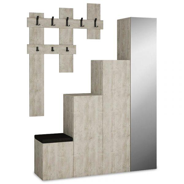 Έπιπλο εισόδου-παπουτσοθήκη UP pakoworld 10 ζεύγων κρεμάστρα antique λευκό 150x37x180