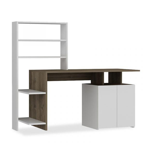 Γραφείο με ραφιέρα Melis pakoworld χρώμα λευκό-καρυδί 146x60x129εκ