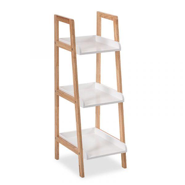 Floor shelf Natural pakoworld wooden in natural-white color 37x30x89cm