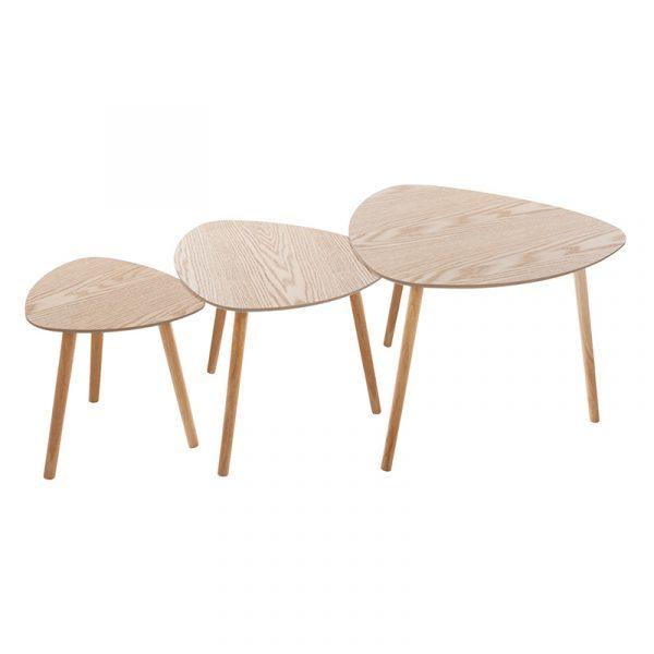 Τραπέζια σαλονιού Tash pakoworld σετ 3τεμ φυσικό-μπεζ 59