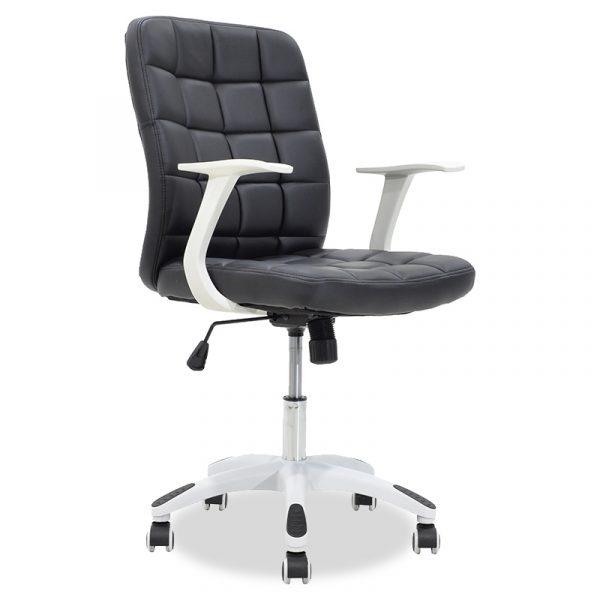 Καρέκλα γραφείου εργασίας ARIEL pakoworld τεχνόδερμα μαύρο-λευκό