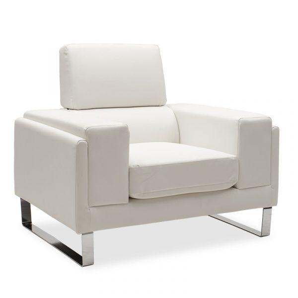 Πολυθρόνα Shea pakoworld pu λευκό-inox 104x80x87εκ