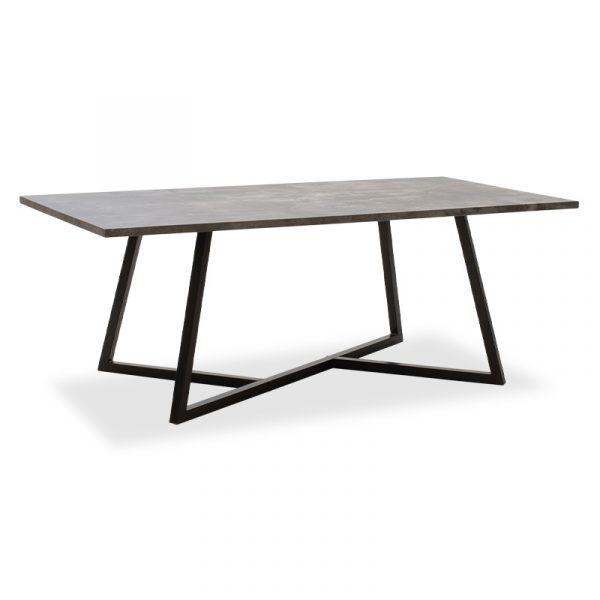 Τραπέζι σαλονιού Ivan pakoworld MDF μεταλλικό γκρι cement-μαύρο 120x60x45εκ