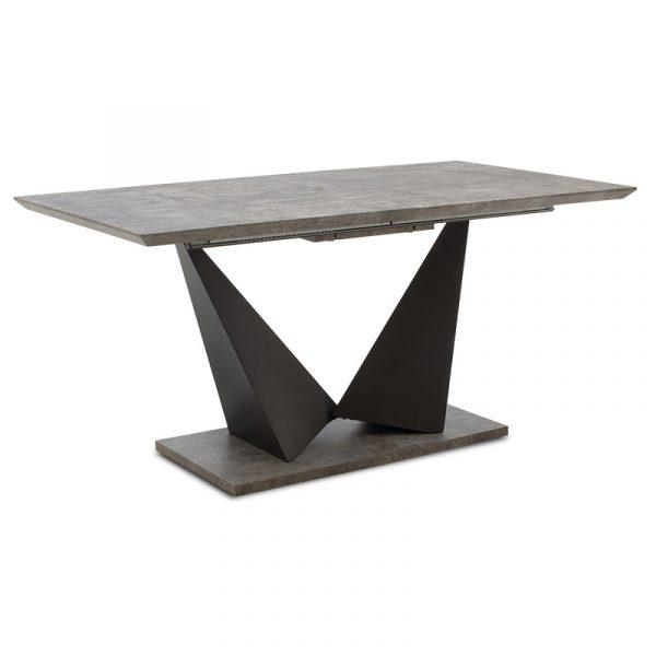 Τραπέζι Gordon pakoworld επεκτεινόμενο MDF 40mm γκρι cement - πόδι μαύρο 160-200x90x75εκ