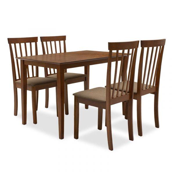 Τραπεζαρία Nilda pakoworld σετ 5τμχ καρυδί χρώμα - κάθισμα καφέ 112x72x74εκ