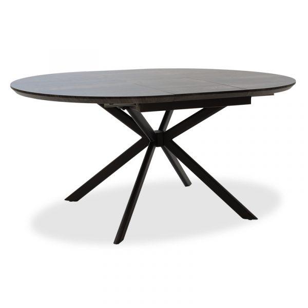 Tραπέζι Spiral pakoworld επεκτεινόμενο MDF γκρι cement - πόδι μαύρο Φ120(+40)x120x75εκ