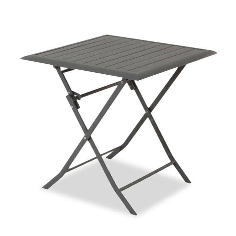 Garden table Francy pakoworld foldnig aluminum in dark grey color 71x71x71cm
