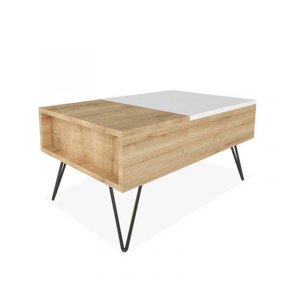 Πολυμορφικό τραπέζι σαλονιού Mixa pakoworld χρώμα φυσικό - λευκό 80x50x39εκ