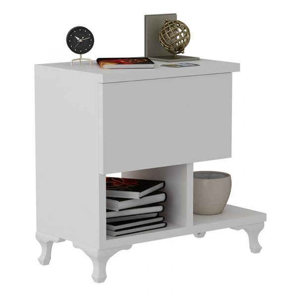 Bedside table PWF-0409 pakoworld in white color 47x33x47cm