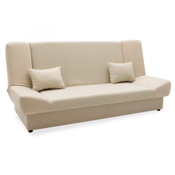 Καναπές-κρεβάτι Tiko pakoworld 3θέσιος με αποθηκευτικό χώρο ύφασμα ivory-cream