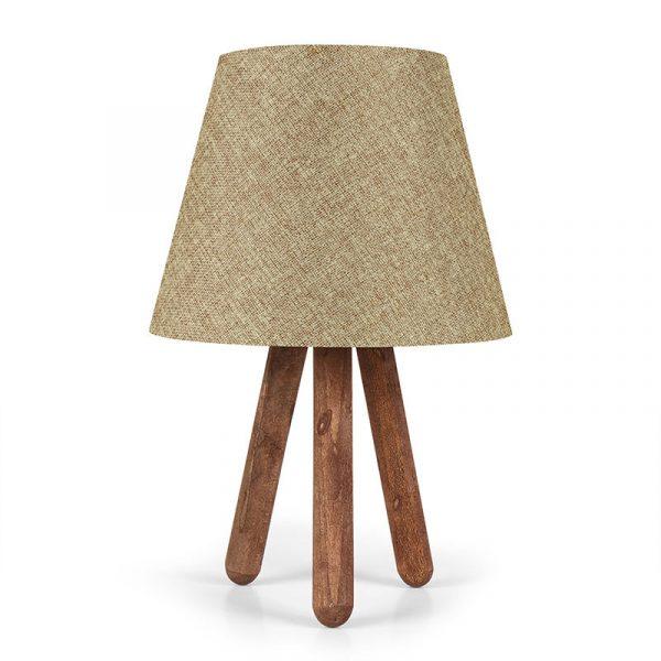 Επιτραπέζιο ξύλινο φωτιστικό PWL-0021 pakoworld Ε27 λαδί pvc καπέλο Φ22x33εκ