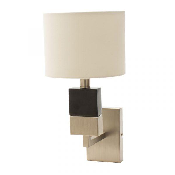 Φωτιστικό τοίχου απλίκα PWL-0940 pakoworld Ε27 ασημί-μαύρο-λευκό καπέλο 20x25x30εκ