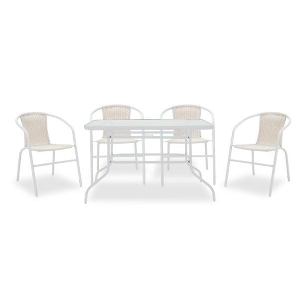 Τραπεζαρία κήπου Valor-Obbi σετ 5τεμ pakoworld μέταλλο-pe λευκό