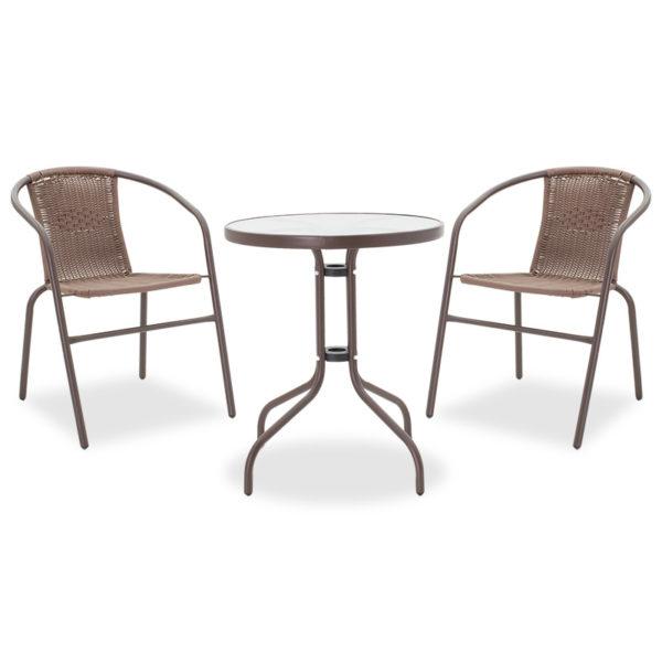 Τραπεζαρία κήπου Watson-Obbi σετ 3τεμ pakoworld μέταλλο-pe καφέ