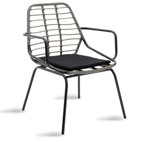 Πολυθρόνα κήπου Naoki pakoworld pe γκρι-μέταλλο μαύρο