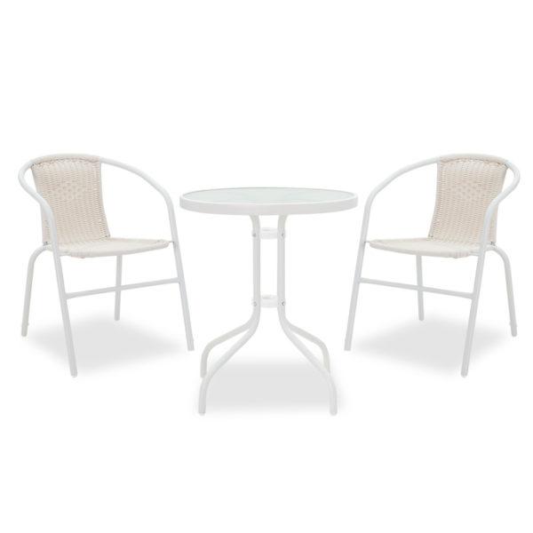 Garden dining room Watson-Obbi set 3pcs pakoworld metal-pe white