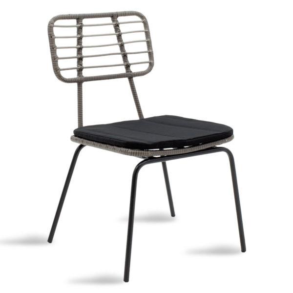 Καρέκλα κήπου Naoki pakoworld μέταλλο μαύρο-pe γκρι