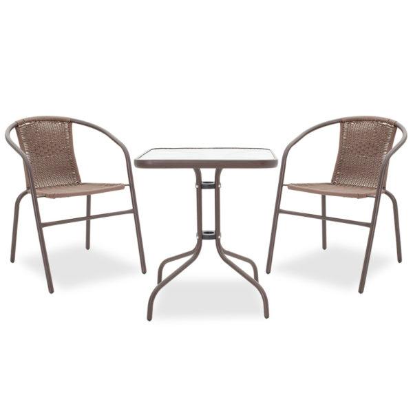 Τραπεζαρία κήπου Obbi-Watson σετ 3τεμ pakoworld μέταλλο-pe καφέ