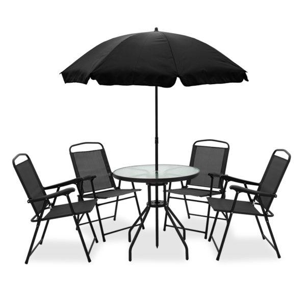 Kamelia pakoworld garden dining set 6pcs metal-textilene black