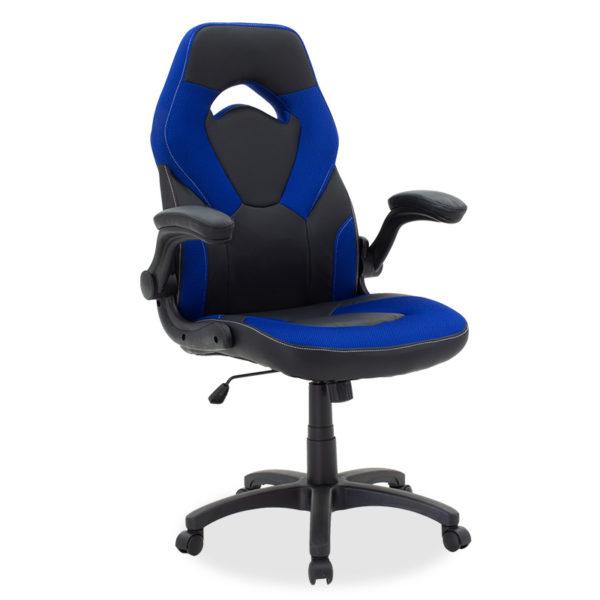 Καρέκλα γραφείου Wolf gaming pakoworld pu μαύρο-mesh μπλε