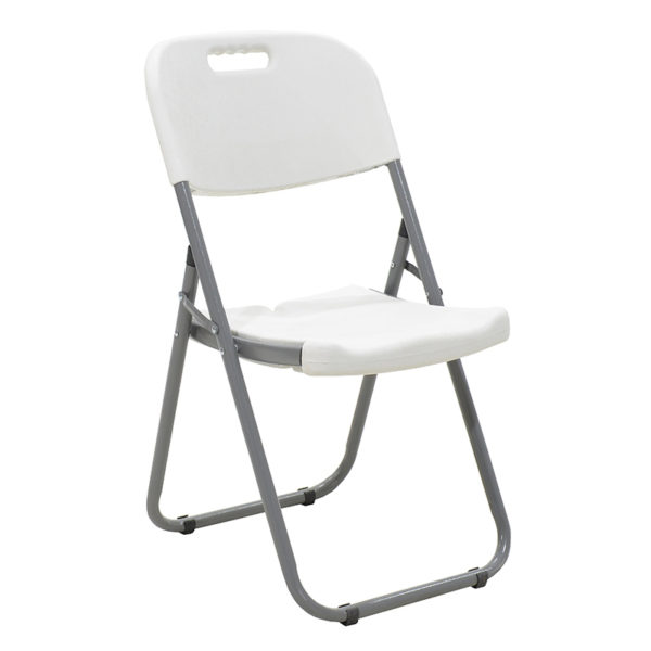 Commericial folding camping chair Edison pakoworld with metal and reinforced frame colour white