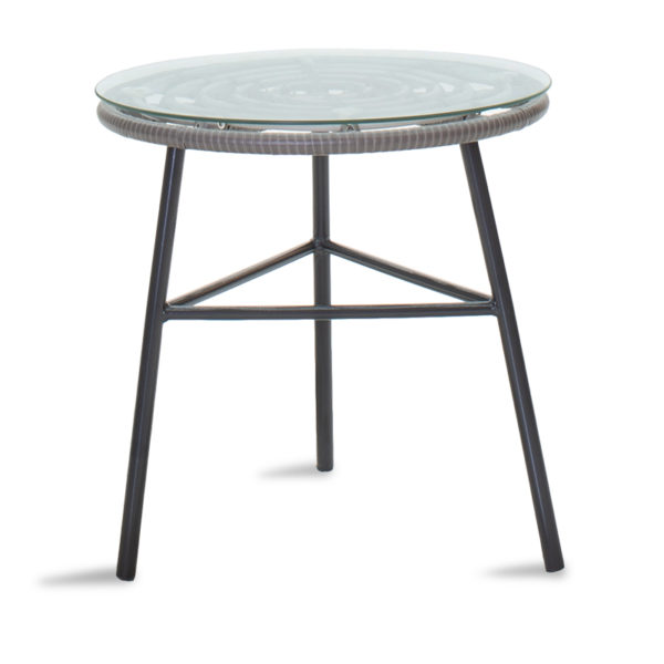 Gaus pakoworld garden table metal black-pe gray-glass D45x46cm.