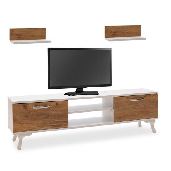 Έπιπλο τηλεόρασης Isadora pakoworld oak-λευκό 150x30x43εκ